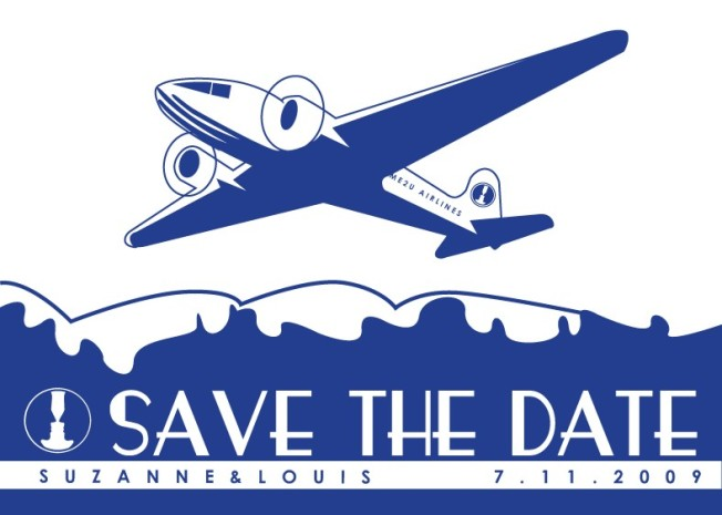 Vintage Airplane Save the Dates