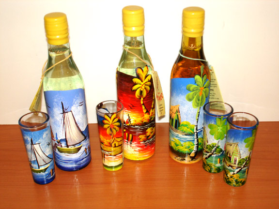 Hand Painted Bottles of Rum In Guests Room on Arrival