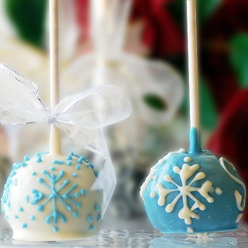 Snow Flake Brownie Ball Pops
