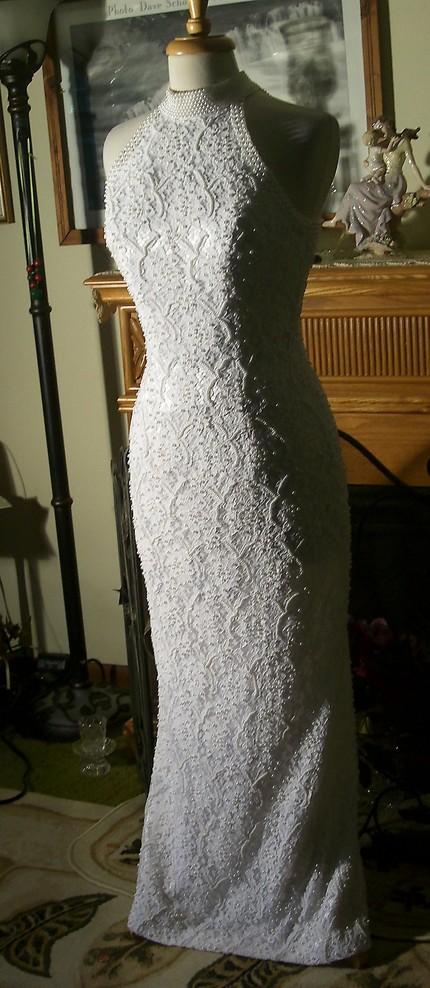 Heavily Beaded Beach Wedding Gown by St Tropez 1980s