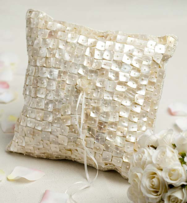 Stunning RingBearers Pillow Made of Mother of Pearl Shells