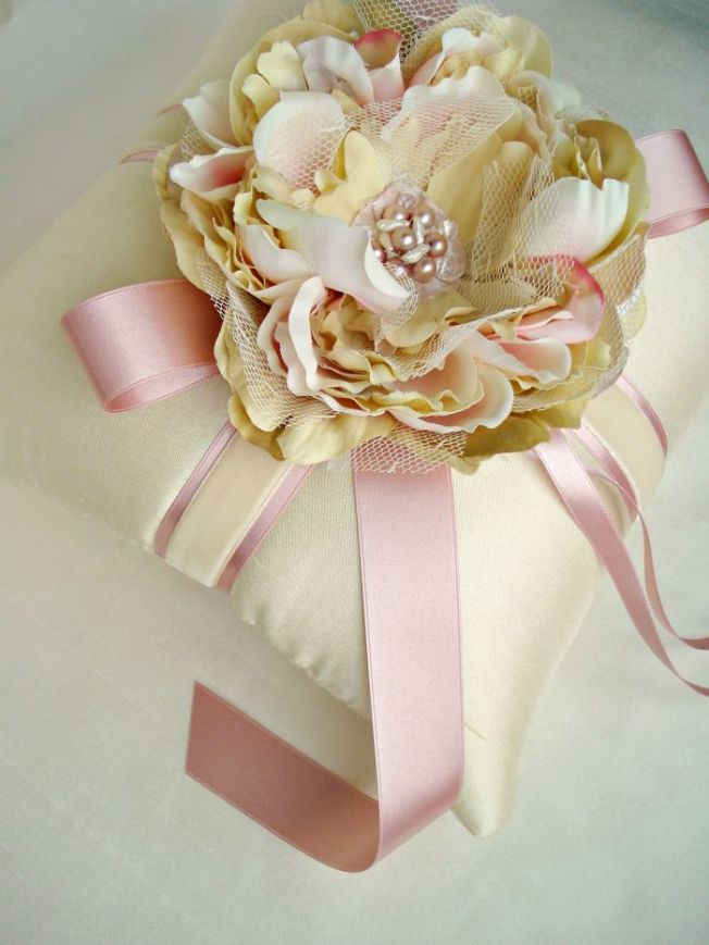 Champagne Pink Quartz and Pearl Hand Beaded Peony Pillow