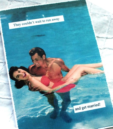 Retro Beach Postcard Save the Date