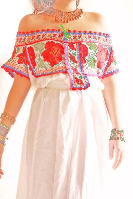 Embroidered Mexican Vintage Linen and Cotton Romantic Wedding Dress