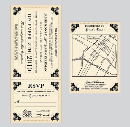 Antique Train Ticket Invitation