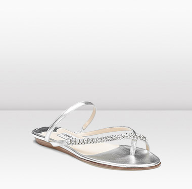 Jimmy Choos Metallic Nappa Sandal with Crystals