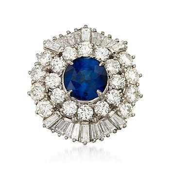 Vintage 1960's Saphire and Diamond Ring