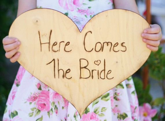 Here Comes the Bride Sign, by Bragging Bags