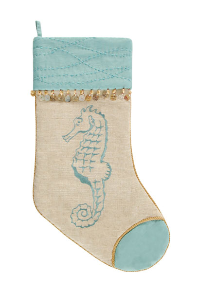 Seahorse Quilted Christmas Stocking