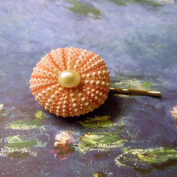Pink Sea Urchin Bobby Pin, by Shell Scrapes