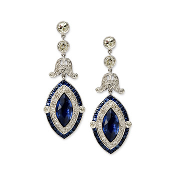 1970's Vintage Saphire and Diamond Earings