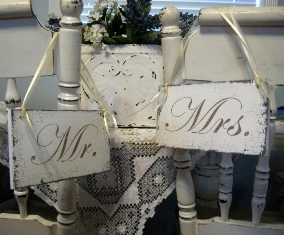 Bride and Groom Signs for Chairs, by thebackporchshoppe