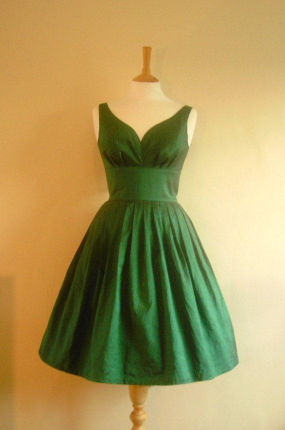Emerald Taffeta Dress by Dig for Victory