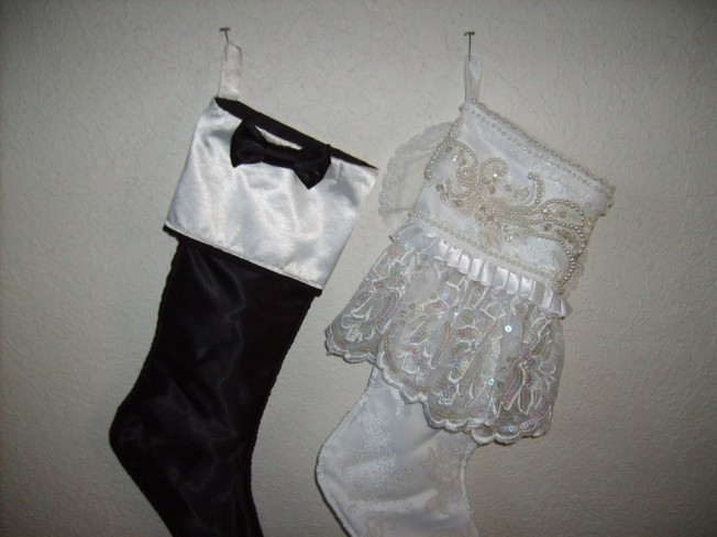 Vintage Bride and Groom Christmas Stockings