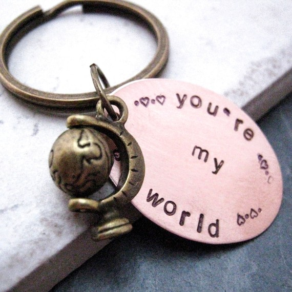Your My World, Hand Stamped Key Chain