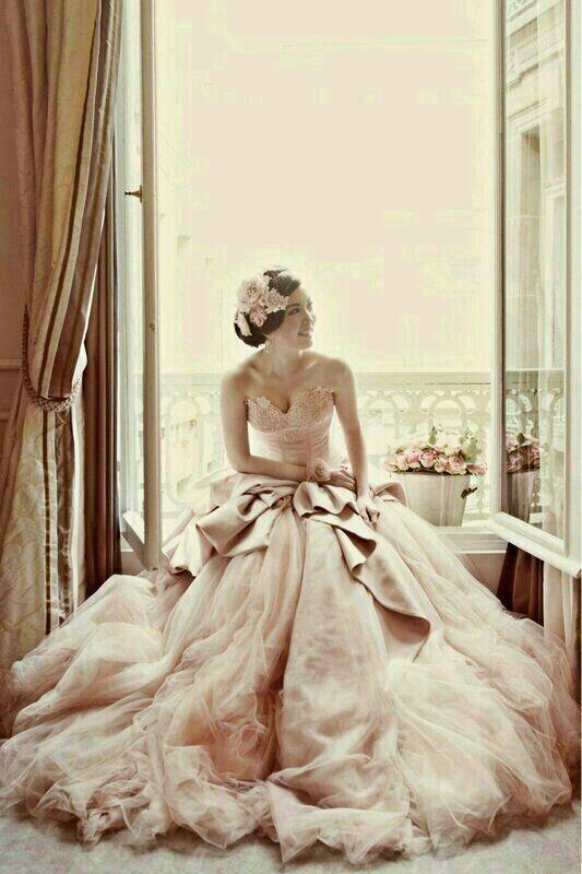 Blush Wedding Gown for Destination Weddings