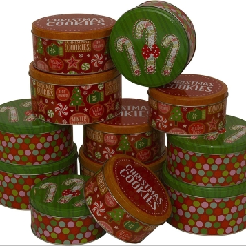 Vintage Style Christmas Cookie Tins for Cookie Tin Tower
