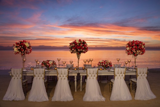 destination wedding reception on the beach zoetry pariaso resort