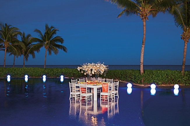 Destination Wedding Reception In Pool Zoetry Resort