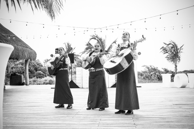 Destination Wedding Playa Mujeres Mexico Mexican Wedding Trio for Cocktail Party